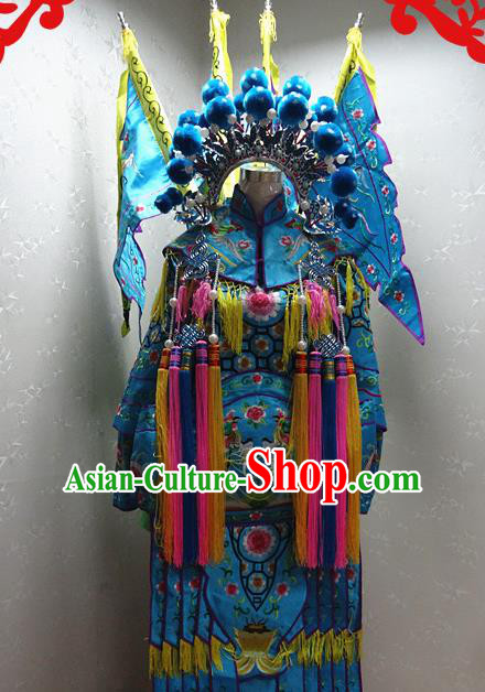 Chinese Traditional Beijing Opera Female General Blue Embroidered Clothing Peking Opera Mu Guiying Costume for Adults