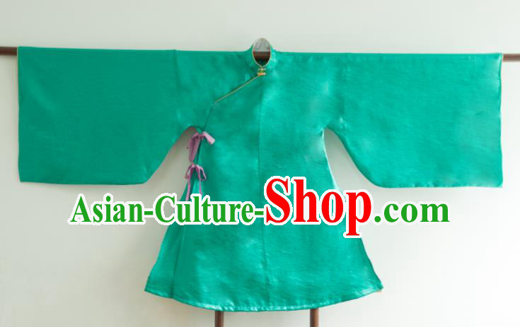 Chinese Ancient Princess Historical Costume Ming Dynasty Green Silk Blouse for Women