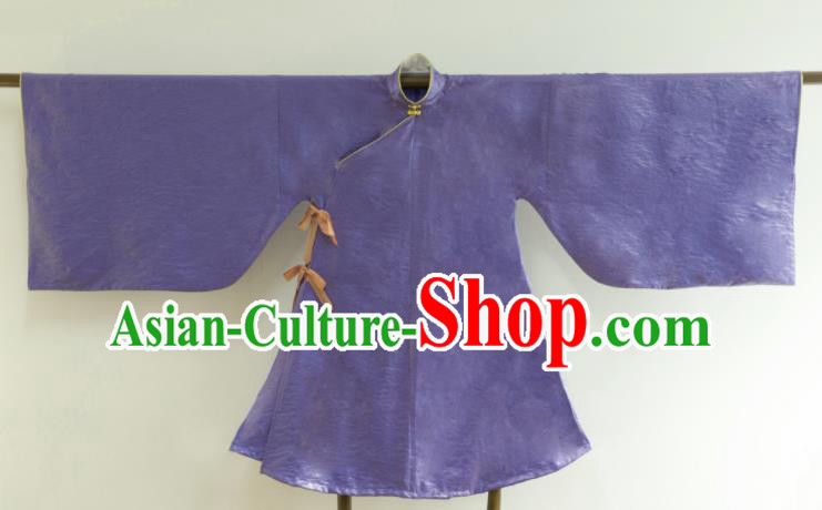 Chinese Ancient Princess Historical Costume Ming Dynasty Purple Silk Blouse for Women