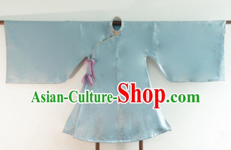 Chinese Ancient Princess Historical Costume Ming Dynasty Blue Silk Blouse for Women