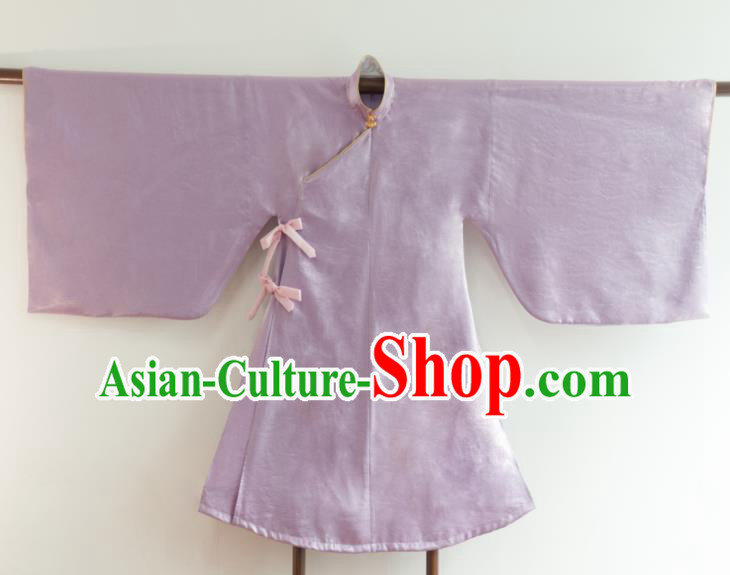 Chinese Ancient Princess Historical Costume Ming Dynasty Lilac Silk Blouse for Women