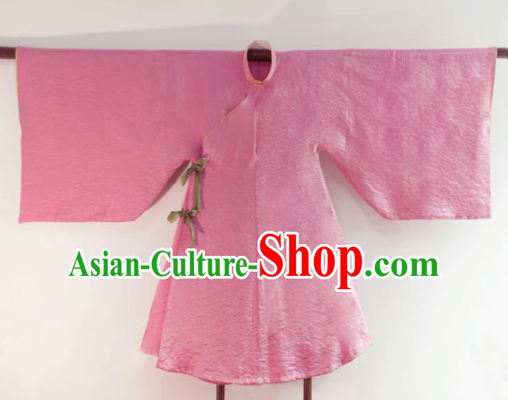 Chinese Ancient Princess Historical Costume Ming Dynasty Rosy Silk Blouse for Women