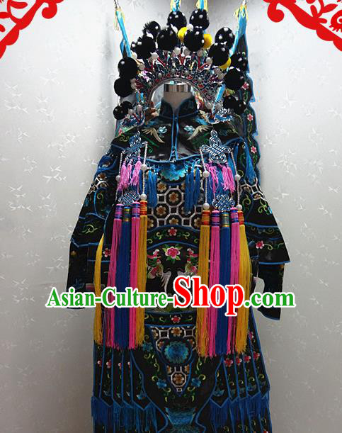 Chinese Traditional Beijing Opera Female General Black Embroidered Clothing Peking Opera Mu Guiying Costume for Adults