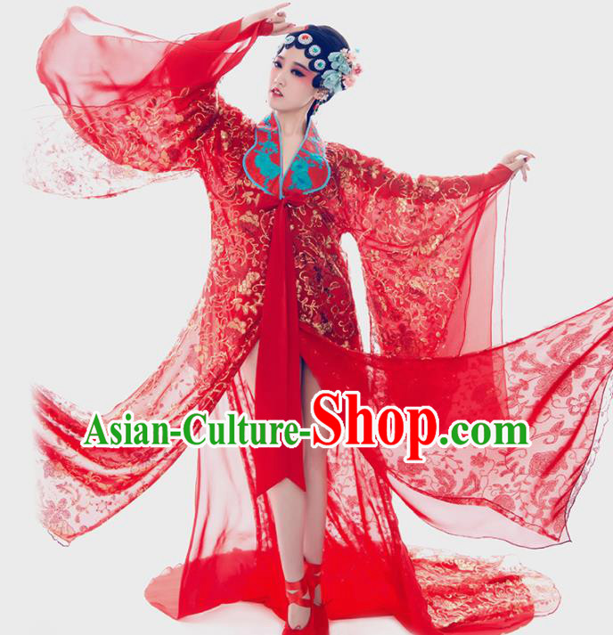 Chinese Ancient Beijing Opera Costumes Traditional Imperial Concubine Red Hanfu Dress for Women