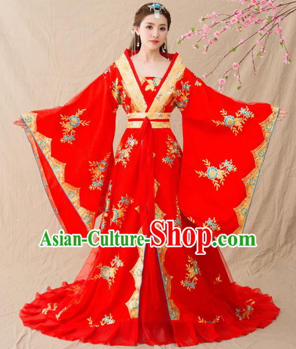 Chinese Ancient Tang Dynasty Wedding Costumes Traditional Imperial Concubine Red Hanfu Dress for Women