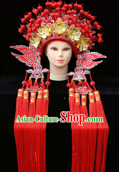 Chinese Traditional Beijing Opera Queen Hair Accessories Ancient Imperial Consort Red Phoenix Coronet
