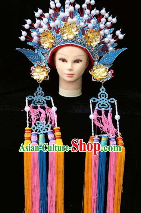 Chinese Traditional Beijing Opera Queen Hair Accessories Ancient Imperial Consort Blue Phoenix Coronet
