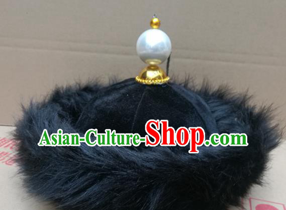 Chinese Traditional Beijing Opera Headwear Ancient Qing Dynasty Manchu Prince Hat