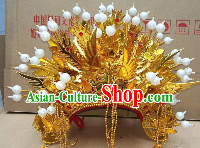 Chinese Traditional Beijing Opera Queen Hair Accessories Ancient Bride Golden Tassel Phoenix Coronet Headwear