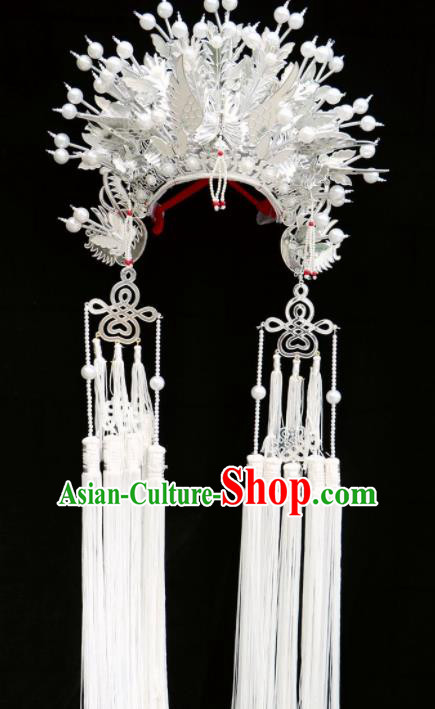 Chinese Traditional Beijing Opera Imperial Consort Hair Accessories Ancient Bride White Phoenix Coronet Headwear