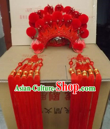 Chinese Traditional Beijing Opera Imperial Consort Hair Accessories Ancient Bride Red Phoenix Coronet Headwear