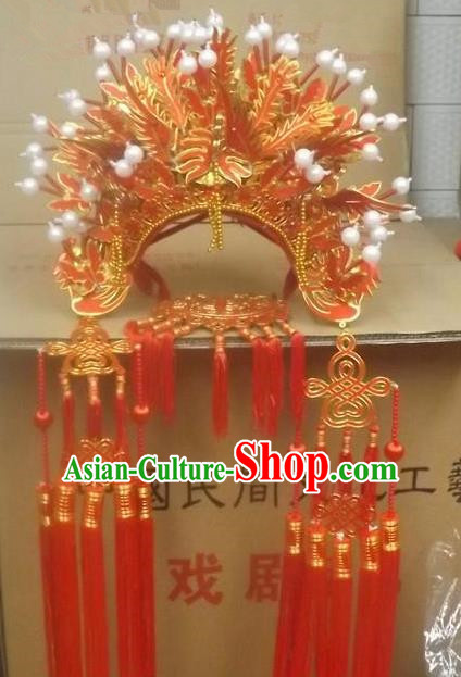 Chinese Traditional Beijing Opera Red Phoenix Coronet Hair Accessories Ancient Imperial Consort Bride Headwear