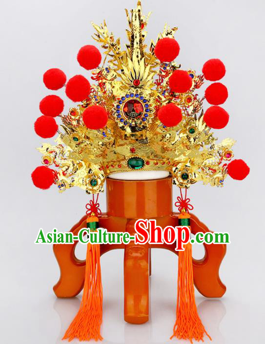 Chinese Traditional Religious Hair Accessories Feng Shui Taoism General Helmet Hat