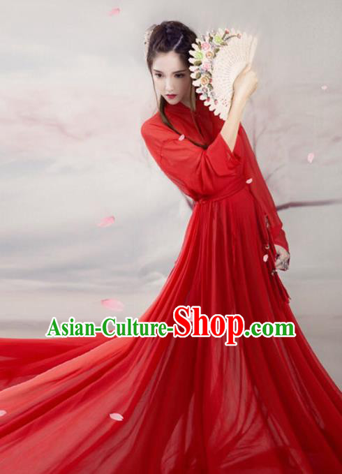 Chinese Ancient Swordswoman Red Hanfu Dress Traditional Han Dynasty Heroine Costume for Women