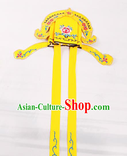Chinese Traditional Beijing Opera Niche Headwear Peking Opera Scholar Embroidered Yellow Hat