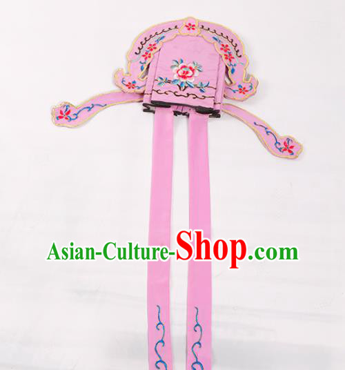 Chinese Traditional Beijing Opera Niche Headwear Peking Opera Scholar Embroidered Pink Hat