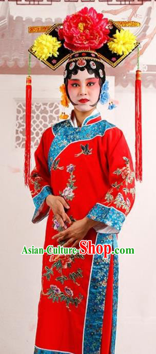 Chinese Traditional Beijing Opera Diva Costume Ancient Qing Dynasty Queen Red Dress