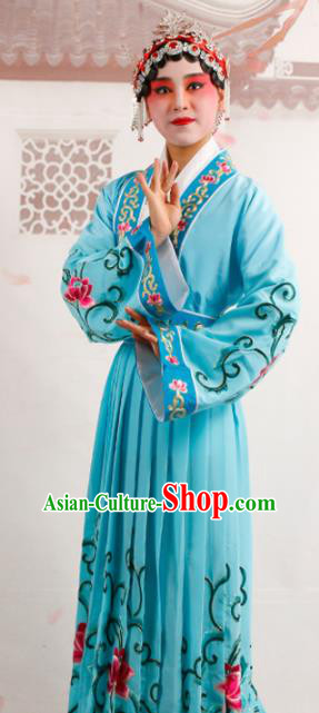 Chinese Traditional Beijing Opera Diva Costume Ancient Princess Blue Palace Dress