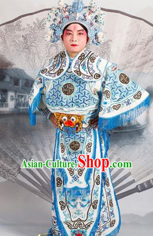 Chinese Traditional Beijing Opera Takefu Costume Ancient Warrior White Clothing