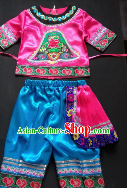 Chinese Traditional Miao Nationality Costume Ethnic Children Folk Dance Clothing for Kids