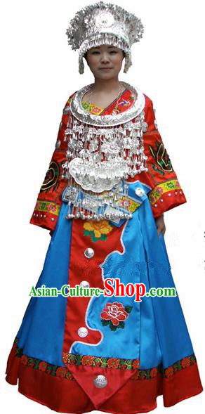 Chinese Traditional Miao Nationality Folk Dance Costume Hmong Ethnic Wedding Pleated Skirt for Women