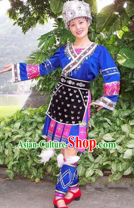 Chinese Traditional Miao Nationality Folk Dance Blue Costume Hmong Ethnic Pleated Skirt for Women