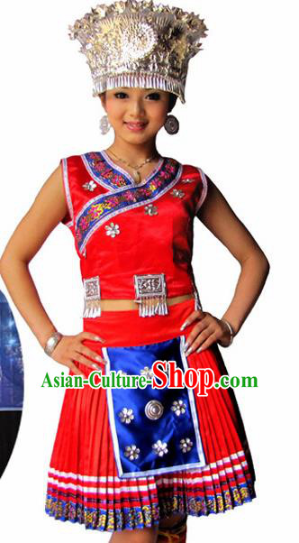 Chinese Traditional Miao Nationality Folk Dance Red Costume Hmong Ethnic Pleated Skirt for Women