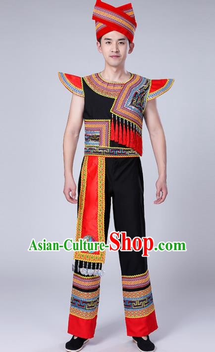 Chinese Traditional Zhuang Nationality Male Costume Ethnic Folk Dance Clothing for Men