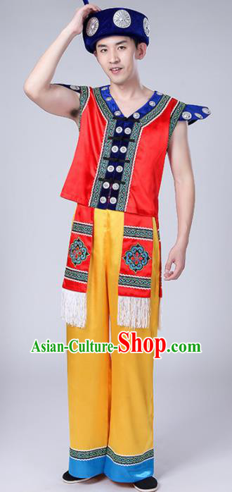 Chinese Traditional Zhuang Nationality Male Red Costume Ethnic Folk Dance Clothing for Men