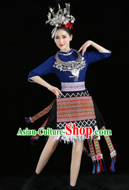 Chinese Traditional Tujia Nationality Costume Ethnic Folk Dance Pleated Skirt for Women