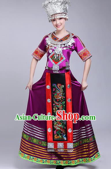 Chinese Traditional Miao Nationality Female Costume Ethnic Folk Dance Purple Dress for Women