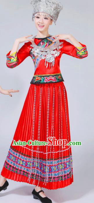 Chinese Traditional Miao Nationality Female Costume Ethnic Folk Dance Bride Red Pleated Skirt for Women