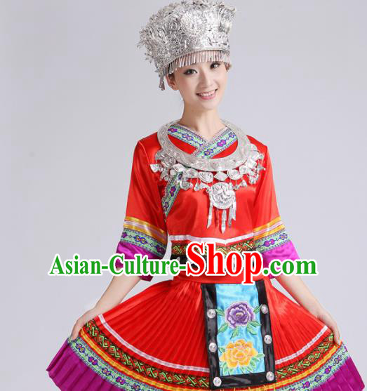 Chinese Traditional Miao Nationality Costume Hmong Female Ethnic Folk Dance Red Pleated Skirt for Women