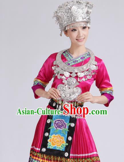 Chinese Traditional Miao Nationality Costume Hmong Female Ethnic Folk Dance Rosy Pleated Skirt for Women