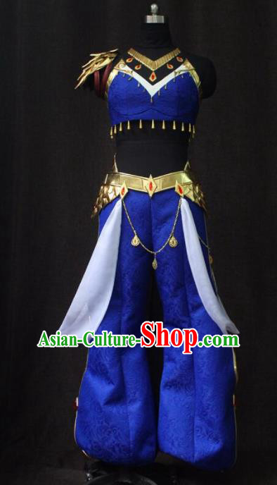 Chinese Traditional Cosplay Costume Ancient Swordswoman Hua Mulan Blue Clothing for Women