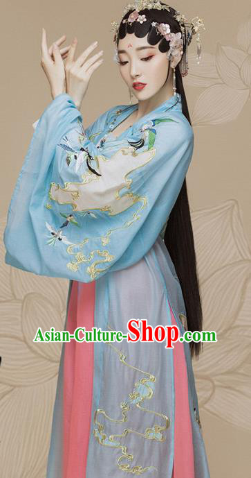 Chinese Ancient Imperial Consort Hanfu Dress Traditional Beijing Opera Actress Costume and Headpiece for Women