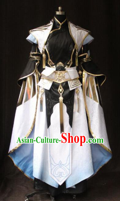 Chinese Ancient Royal Highness Swordsman Costume Traditional Cosplay General Clothing for Men