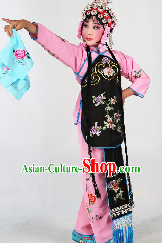 Traditional Chinese Beijing Opera Children Costume Peking Opera Maidservants Black Vest Clothing for Kids