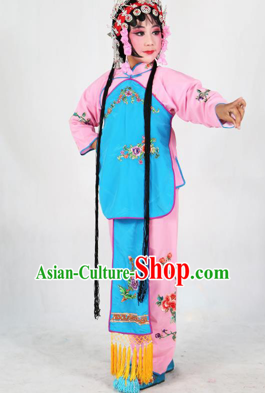 Traditional Chinese Beijing Opera Children Costume Peking Opera Maidservants Blue Vest Clothing for Kids