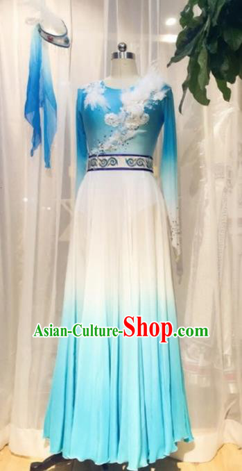 Traditional Chinese Classical Dance Costume China Ancient Dance Blue Dress for Women