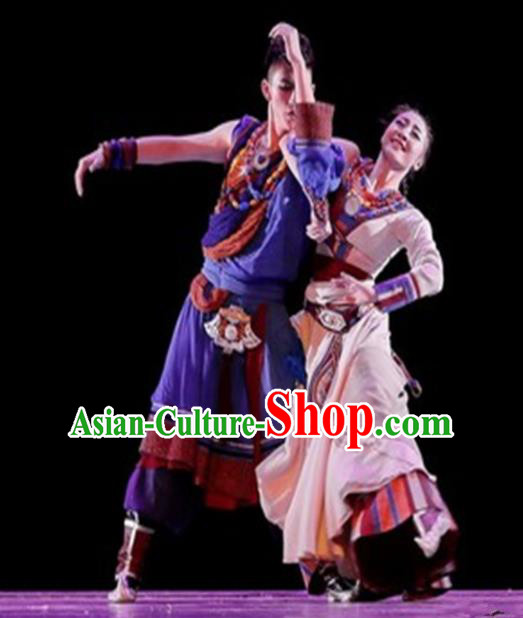 Traditional Chinese Classical Dance Costume China Tibetan Ethnic Couple Dance Clothing Complete Set