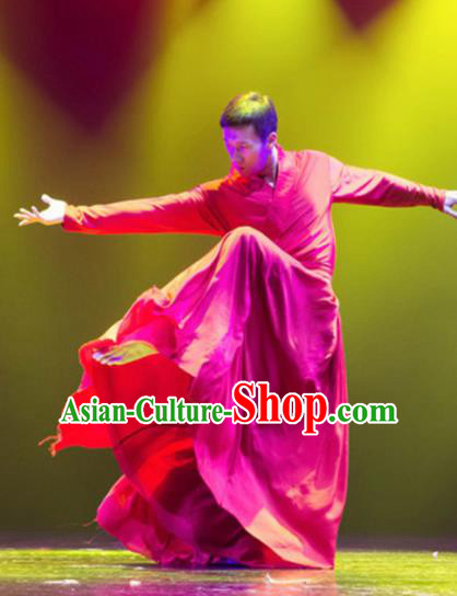 Traditional Chinese Classical Dance Costume China Martial Arts Dance Red Clothing for Men