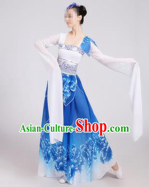 Traditional Chinese Classical Dance Costume Stage Performance Blue Dress for Women