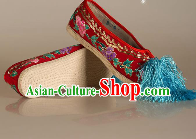 Asian Chinese Beijing Opera Shoes Red Cloth Embroidered Shoes Traditional Peking Opera Diva Shoes