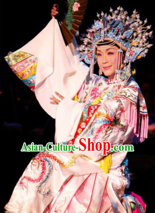 Traditional Chinese Beijing Opera White Embroidered Robe Ancient Imperial Consort Historical Costume Complete Set
