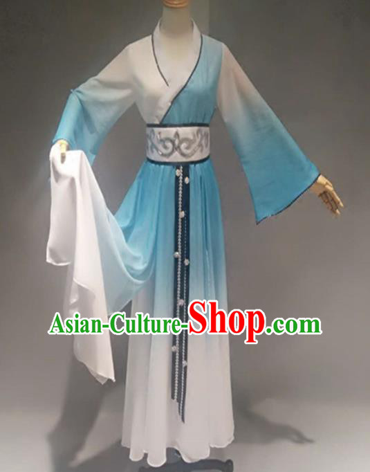Traditional Chinese Classical Dance Costume China Stage Performance Dance Blue Dress for Women