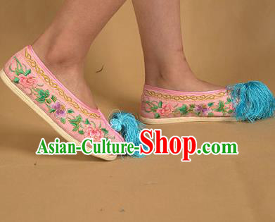 Asian Chinese Beijing Opera Shoes Pink Embroidered Shoes Traditional Peking Opera Diva Shoes