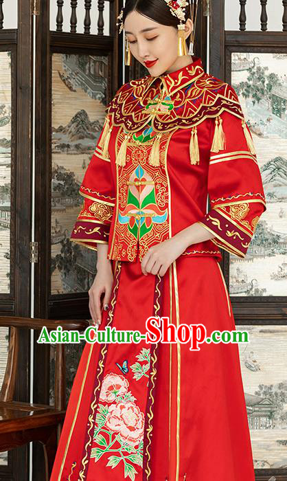 Traditional Chinese Wedding Costume Ancient Bride Embroidered Red Xiuhe Suits for Women