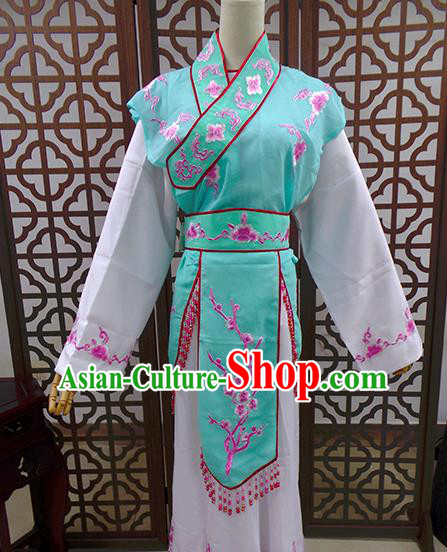 Traditional Chinese Beijing Opera Actress Costume Peking Opera Maidservants Green Dress