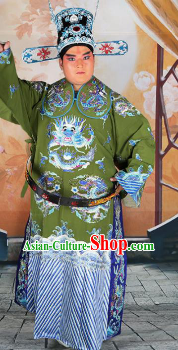 Chinese Traditional Beijing Opera Green Embroidered Robe Peking Opera Minister Costume